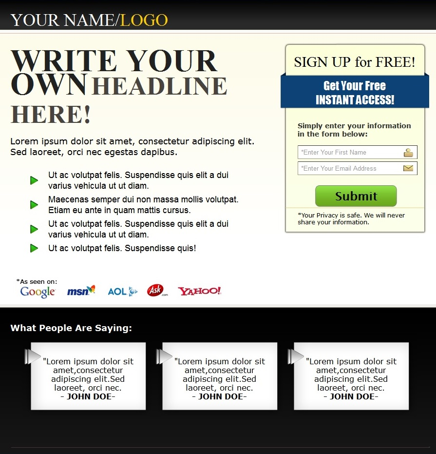 Free capture page templates downloads reducethehype. Com.