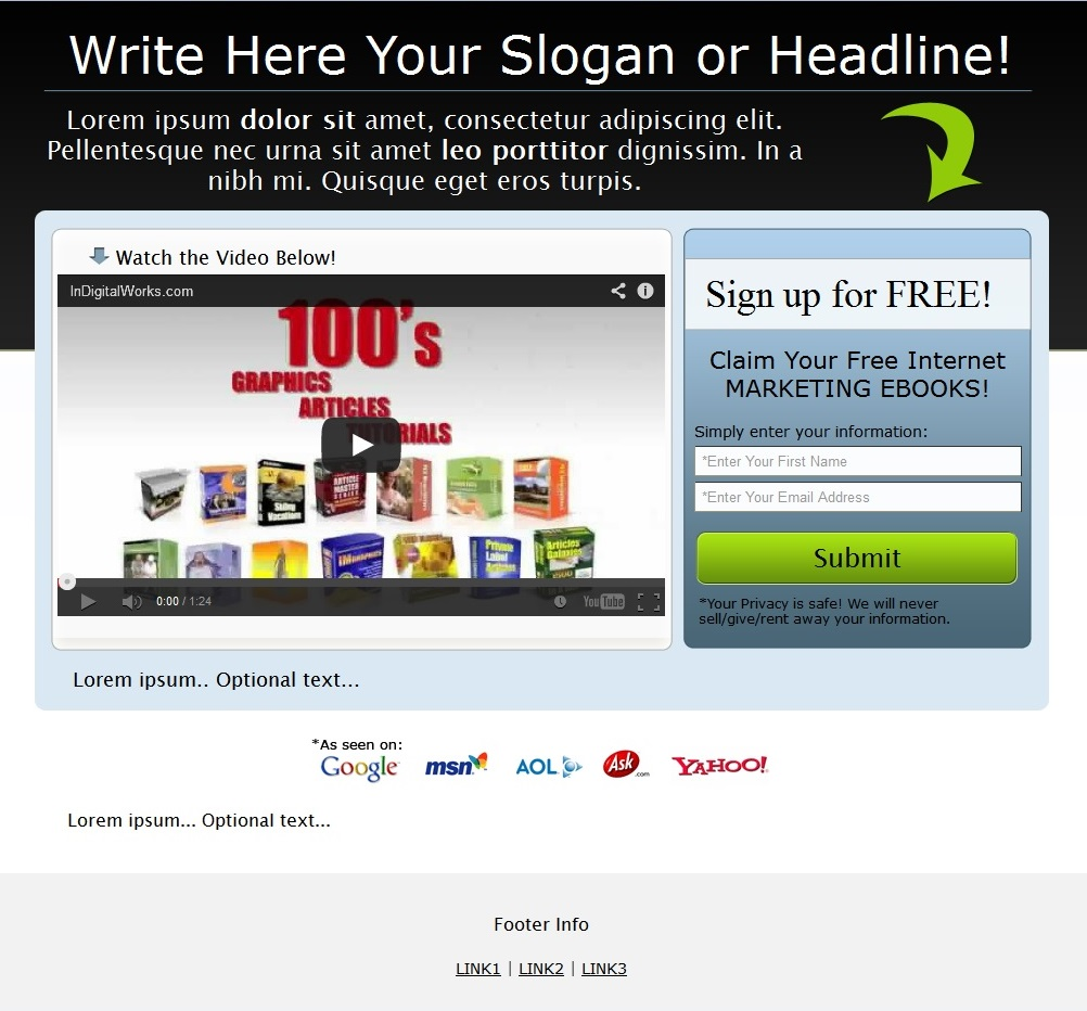 19 squeeze page templates for high conversion in sales funnel.